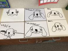Our DOG drawings that started with d o g!!!!!